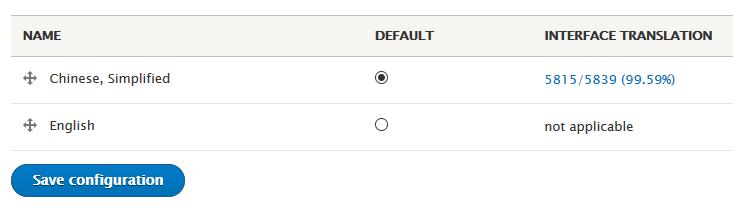 Drupal 8 修改网站默认语言