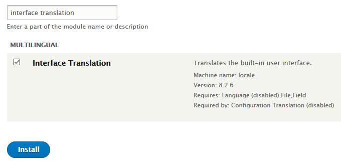 Drupal 8 中文汉化 启用多语言模块